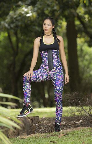 7005-1019 -  Printed leggins / printed latex sport waistband