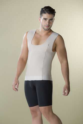 4004 - Men girdle vest with latex and side zipper