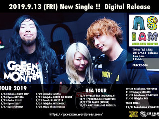 SKATE PUNK BAND『GREEN EYED MONSTER』2曲入りSingle『AS I AM』を配信リリース、会場限定販売決定!USA TOURを含むリリースツアー情報を発表!