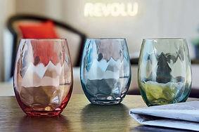 Vaso con cristal moldeado en colores de 35cl.