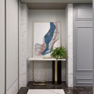 擺上一副藝術品、 天花板揉入淡綠色  回到家有個頓時釋放壓力的抽離感。  在右側深色封布處 其實是一間儲藏室的隱藏門  而左前方也有進入客房的隱藏門