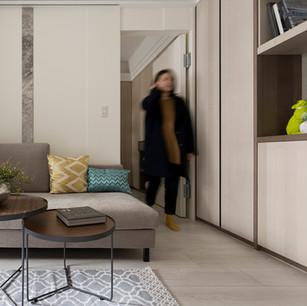 沙發背牆  米白色法式噴漆 藉由寬度與厚度的切割變化,更顯牆面層次  /  側面茶鏡 延伸空間向度 挑高空間搭配吊隱式冷氣縱向擴大空間 解決空間不足的問題