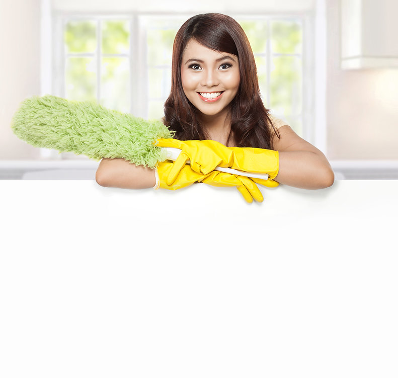 Cleaning service woman presenting a blan