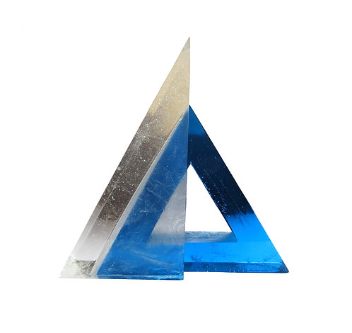 Triangular blue cast glass sculpture