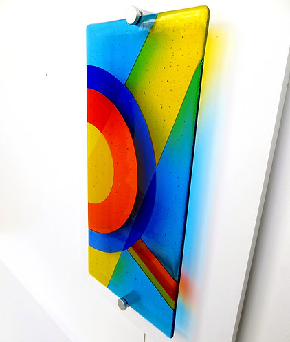 Blue and yellow abstract fused glass wall artwork