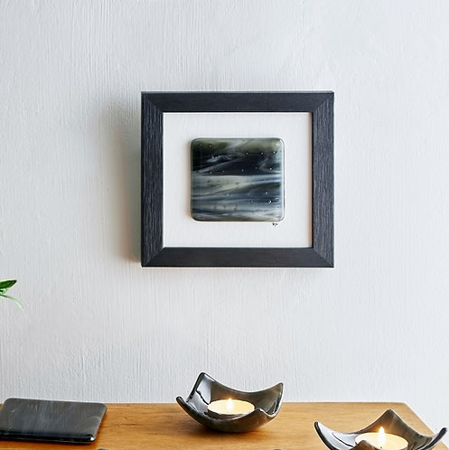 Black and white abstract framed fused glass picture