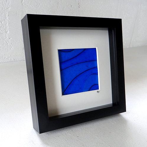 Blue framed fused glass wall art