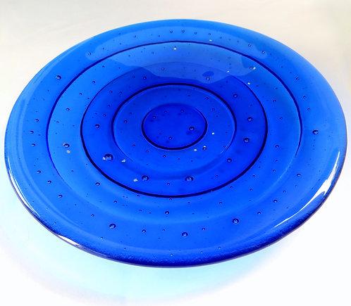 Handmade blue rippled fused glass bowl