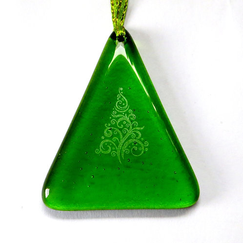 Green fused glass Christmas tree decoration