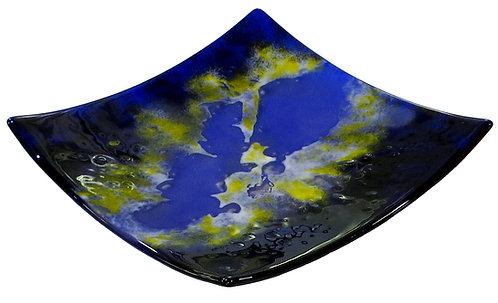 Deep blue square fused glass bowl
