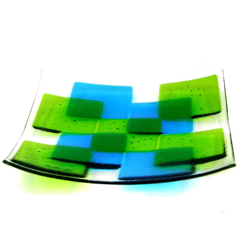 Green and blue square fused glass bowl