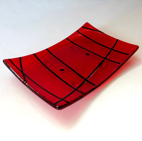 Red lined fused glass soap dish
