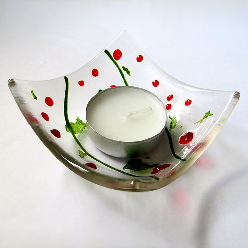 Holly inspired fused glass candle holder