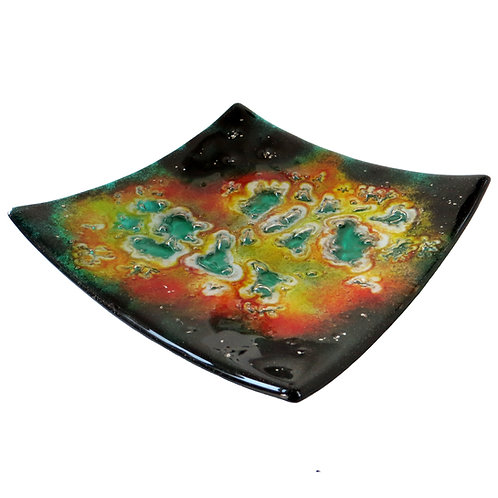 Colourful green fused glass bowl