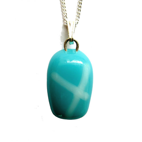 Turquoise lined handmade fused glass necklace