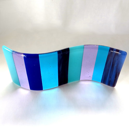 Blue and purple striped fused glass wave
