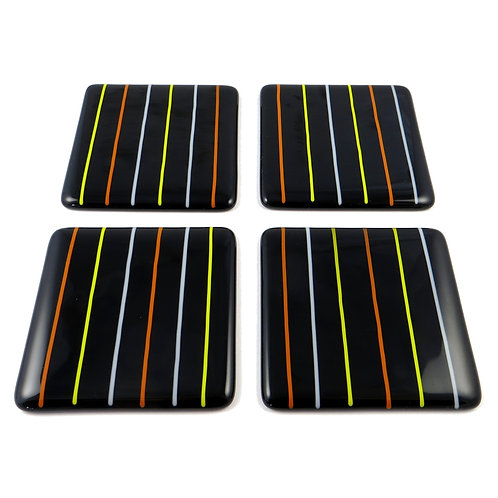 Black lined fused glass coasters
