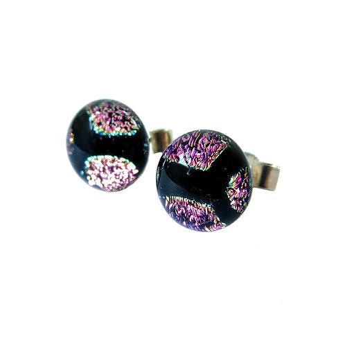 Purple dichroic glass stud earrings