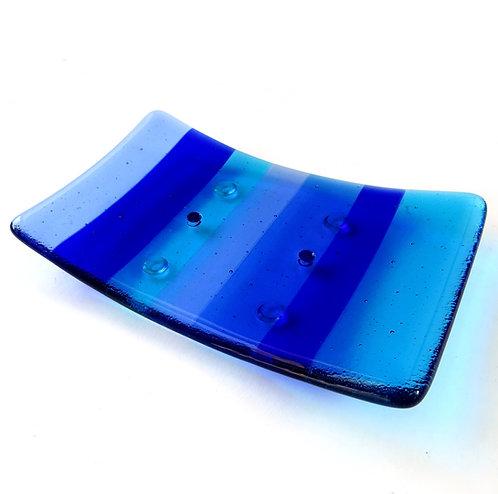 Blue striped handmade fused glass soap dish