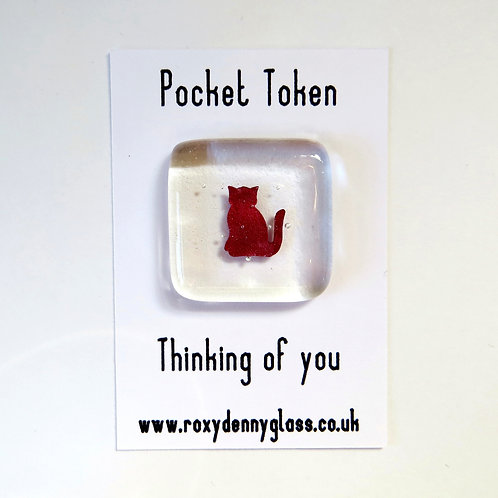 Cat fused glass pocket token, thinking of you