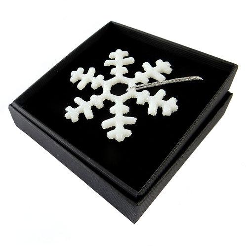 White handmade fused glass snowflake