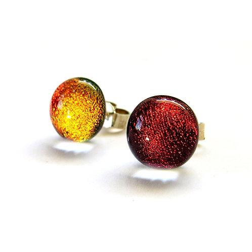 Red handmade dichroic glass stud earrings