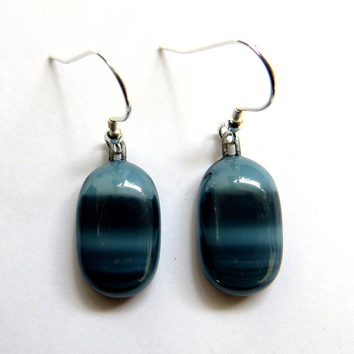 Handmade blue and green fused glass earrings