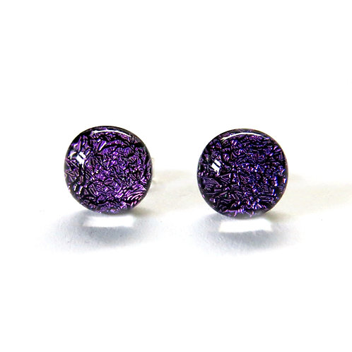 Purple dichroic glass and sterling silver studs