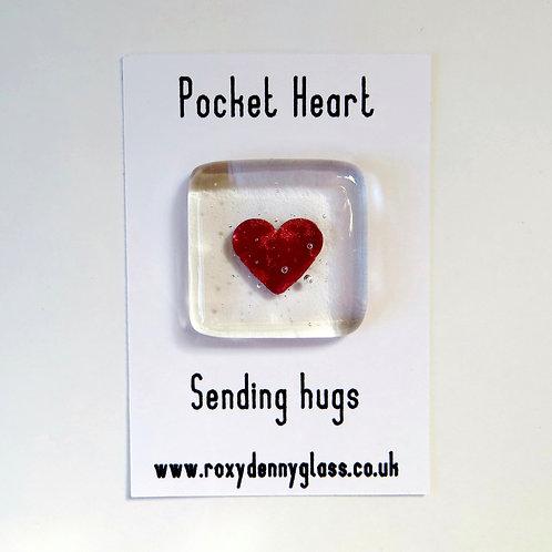 Fused glass pocket heart token, sending hugs
