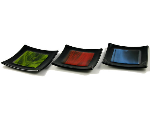 Small black handmade fused glass bowls