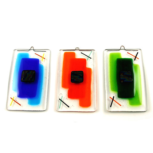 Colourful handmade fused glass wall hangings