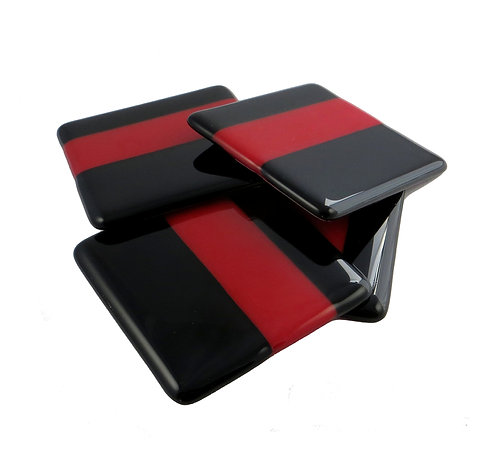 Red and black striped fused glass coasters