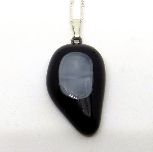 Black and grey fused glass and sterling silver necklace