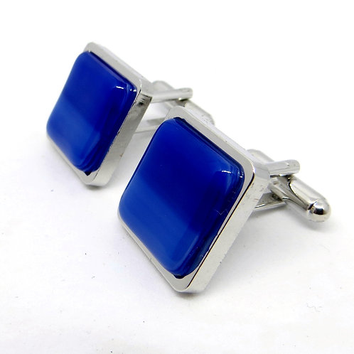 Square blue and white fused glass cufflinks