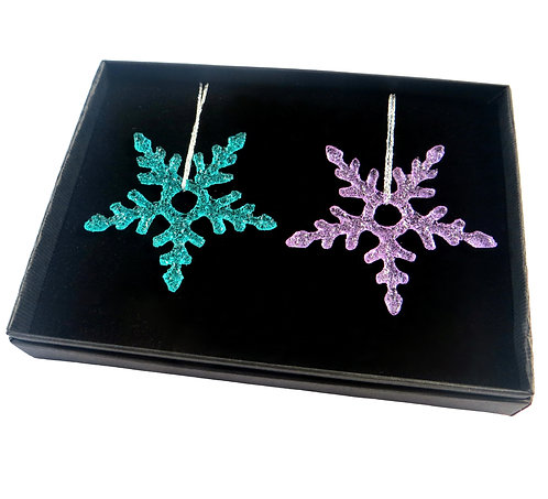 Green and purple fused glass snowflake gift set