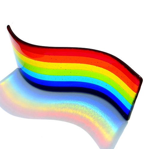 Rainbow fused glass wave