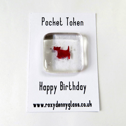 Happy birthday dog fused glass pocket token