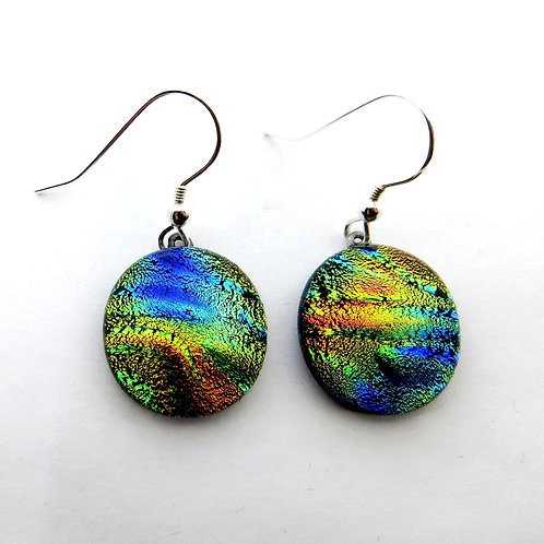 Ripple effect dichroic glass earrings
