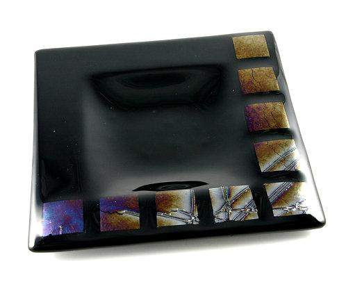Black iridised fused glass bowl