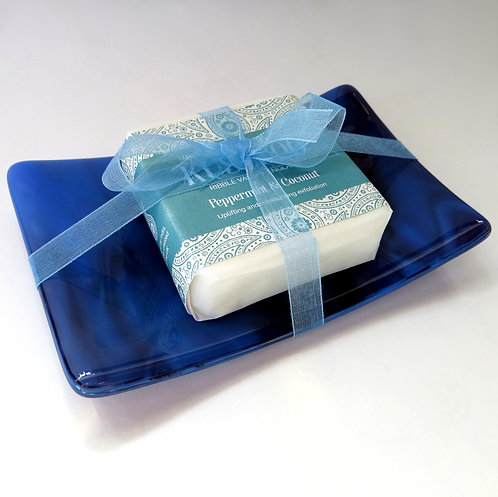 Blue and purple fused glass soap dish gift set