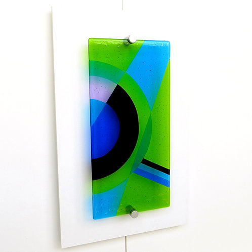 Green and blue geometric fused glass wall art