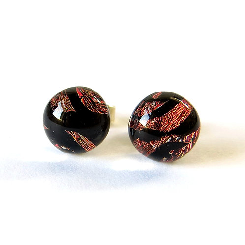 Red and black dichroic glass stud earrings