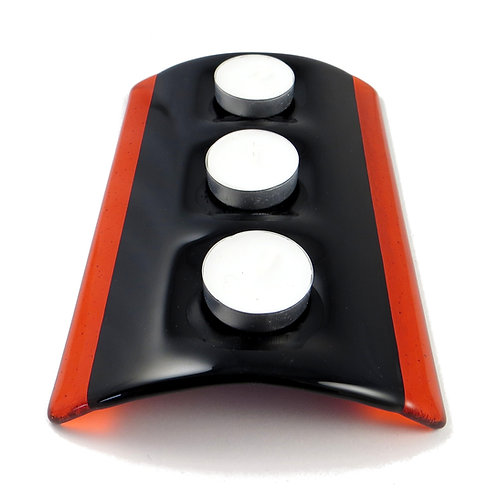 Black and orange fused glass candle bridge