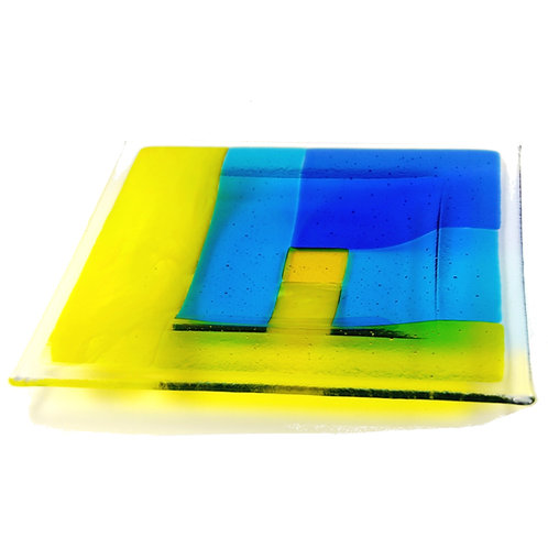 Yellow and blue patchwork fused glass bowl