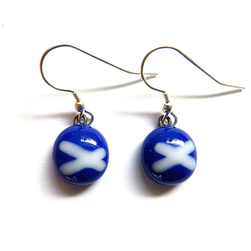 Blue Linea fused glass earrings - small