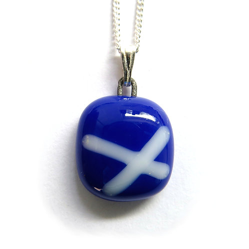 Blue Linea fused glass necklace - small