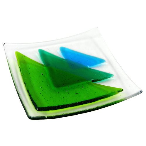 Green triangle fused glass bowl