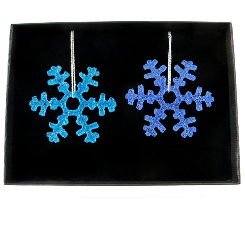 Blue handmade fused glass snowflake gift set