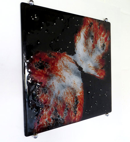 Space themed black and red fused glass wall art