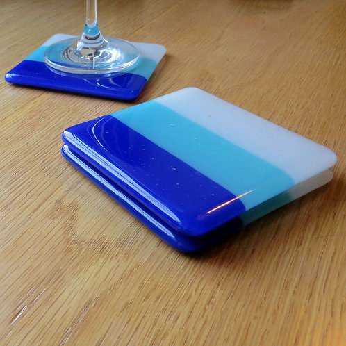 Blue and white fused glass coasters